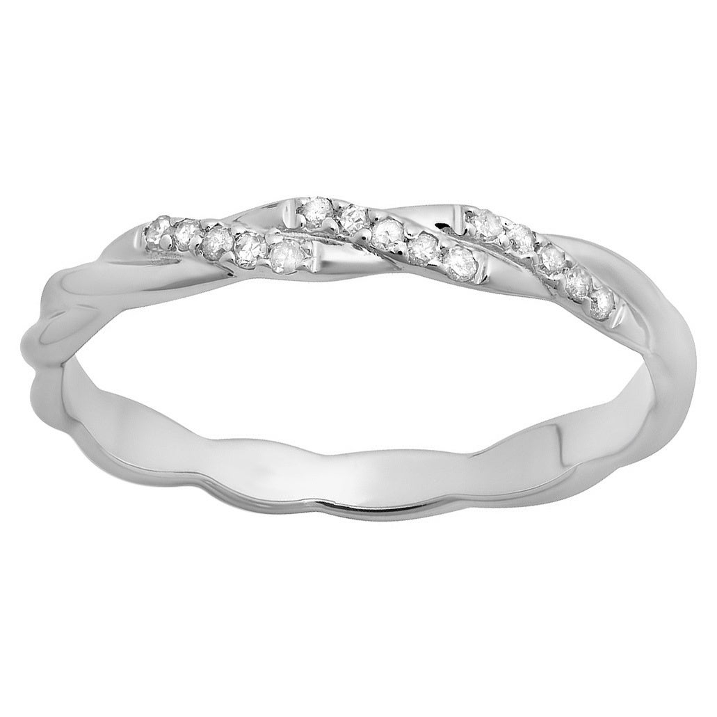 Elora 14K White Gold 1/10Ct Tdw Round Cut Diamond Swirl Anniversary Wedding  Ring Intended For Most Recent Diamond Swirl Anniversary Bands In White Gold (View 16 of 25)
