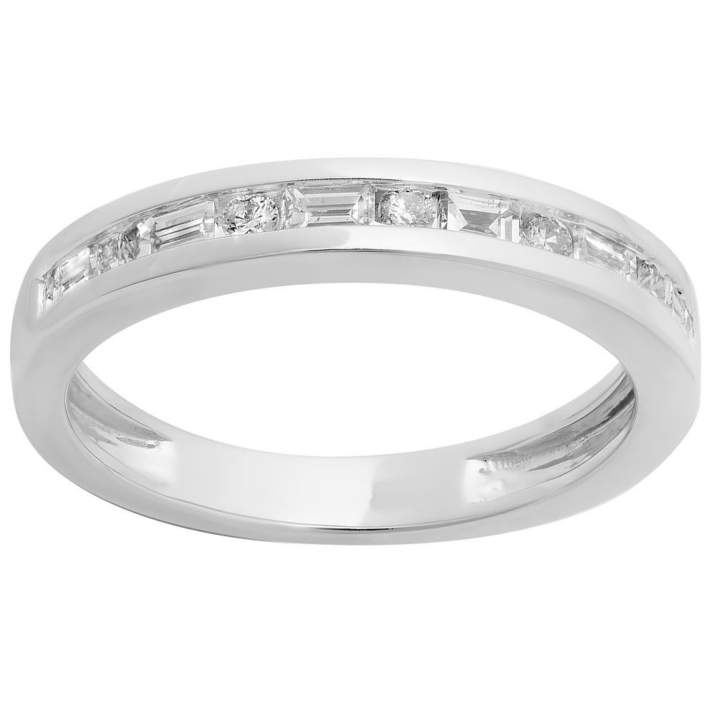 Elora 14k White Gold 1/2ct Tdw Alternating Round And Baguette Diamond Channel Set Anniversary Ring Intended For Recent Baguette And Round Diamond Alternating Vintage Style Anniversary Bands In White Gold (View 9 of 25)