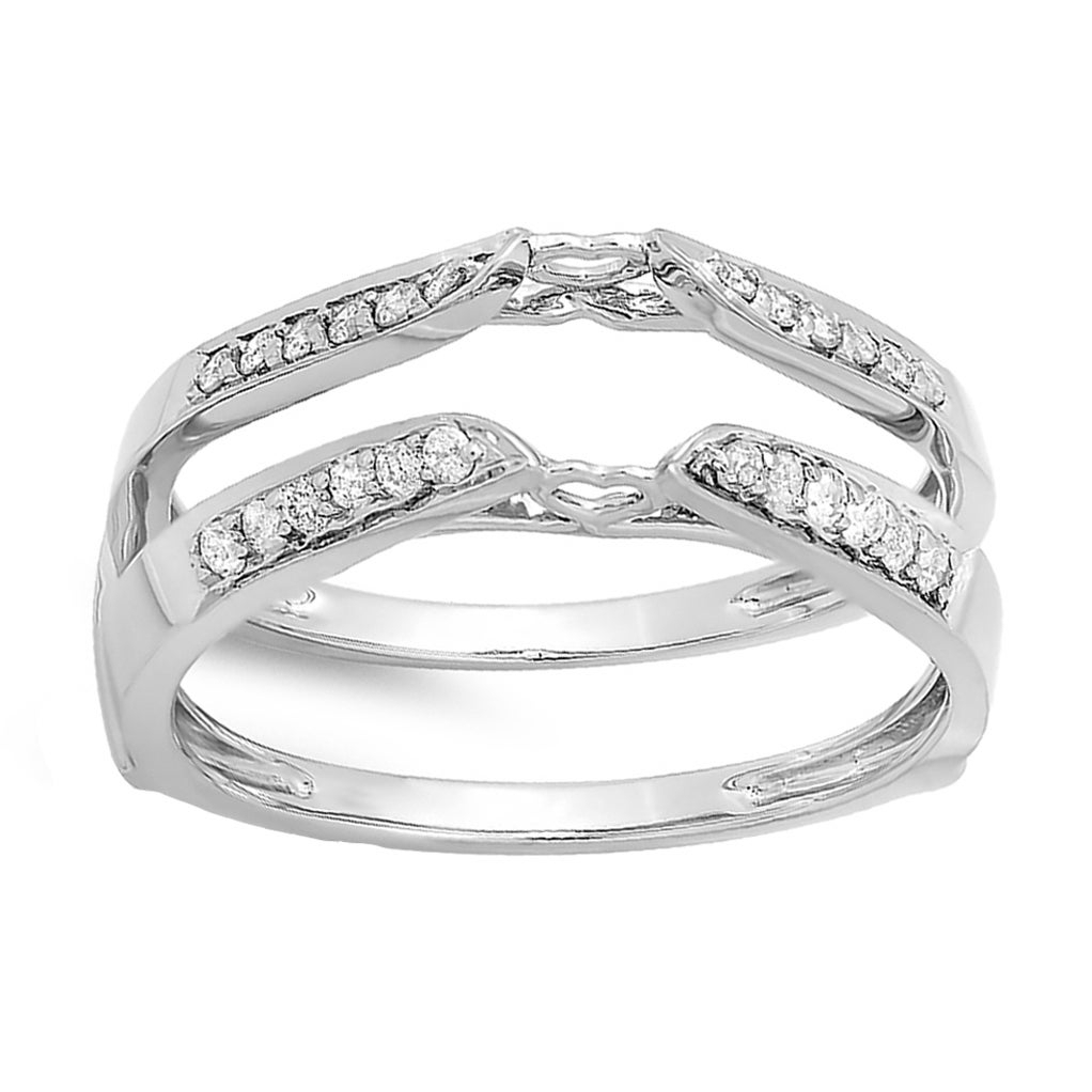 Elora 14K White Gold 1/4Ct Tdw Round Diamond Bridal Guard Double Ring For Current Diamond Double Row Contour Tiara Anniversary Bands In White Gold (View 10 of 25)