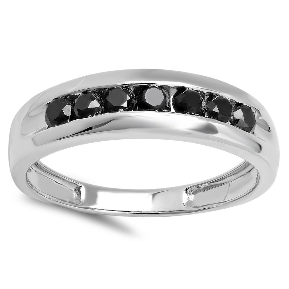 Elora Sterling Silver 1ct Tdw Round Cut Black Diamond Men's Channel Set 7 Stone Anniversary Intended For Most Popular Diamond Seven Stone Anniversary Bands In Sterling Silver (View 14 of 25)