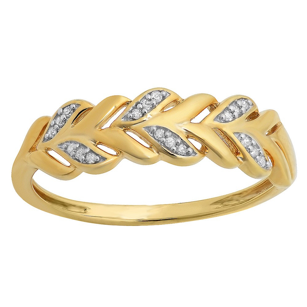 Elora Yellow Goldplated Sterling Silver Round Diamond Accent Vintage Style Stackable Anniversary Band Intended For Most Recent Diamond Accent Vintage Style Anniversary Bands In White Gold (View 6 of 25)