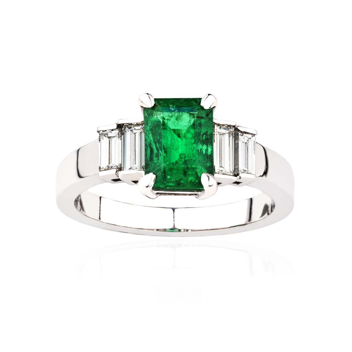 Emerald And Diamond Five Stone Ring In 18Ct White Gold With Most Recently Released Diamond Frame Five Stone Anniversary Bands In White Gold (View 9 of 25)