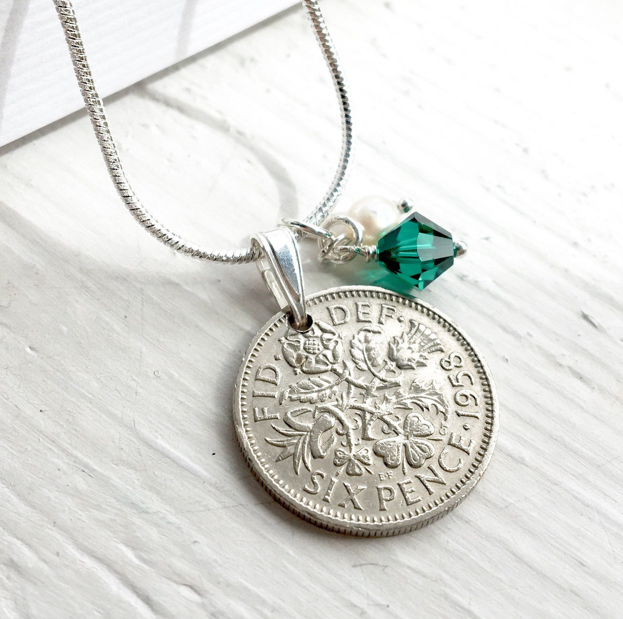 Emerald Birthstone Sixpence Necklace, May Birthstone Jewelry, Lucky Gift For Her, Gift For Women, Lucky Coin For May Birthday Within Latest Royal Green May Birthstone Locket Element Necklaces (View 5 of 25)