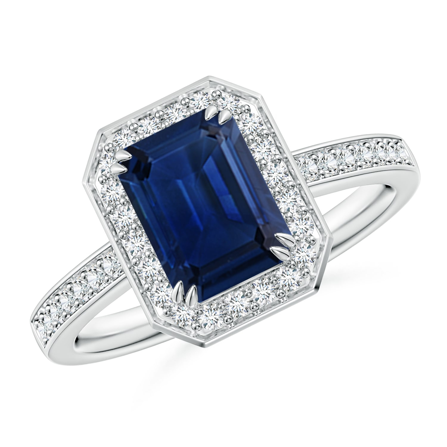 Emerald Cut Blue Sapphire Engagement Ring With Diamond Halo Within Most Recent Blue Square Sparkle Halo Rings (Gallery 3 of 25)
