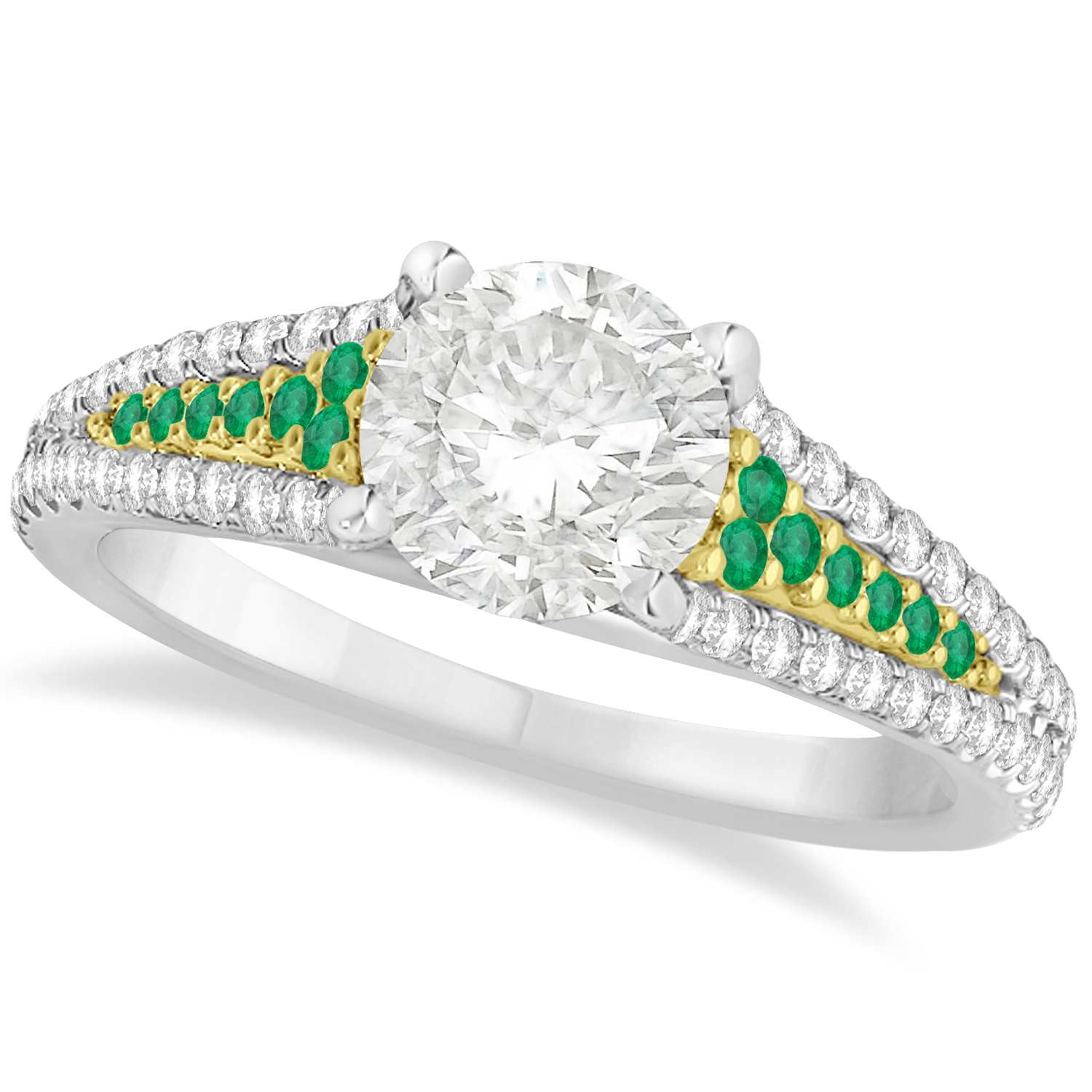 Emerald & Diamond Engagement Ring 14K Two Tone Yellow Gold (1.33Ct) Throughout Latest Diamond Vine Two Row Anniversary Rings In Two Tone Gold (Gallery 25 of 25)