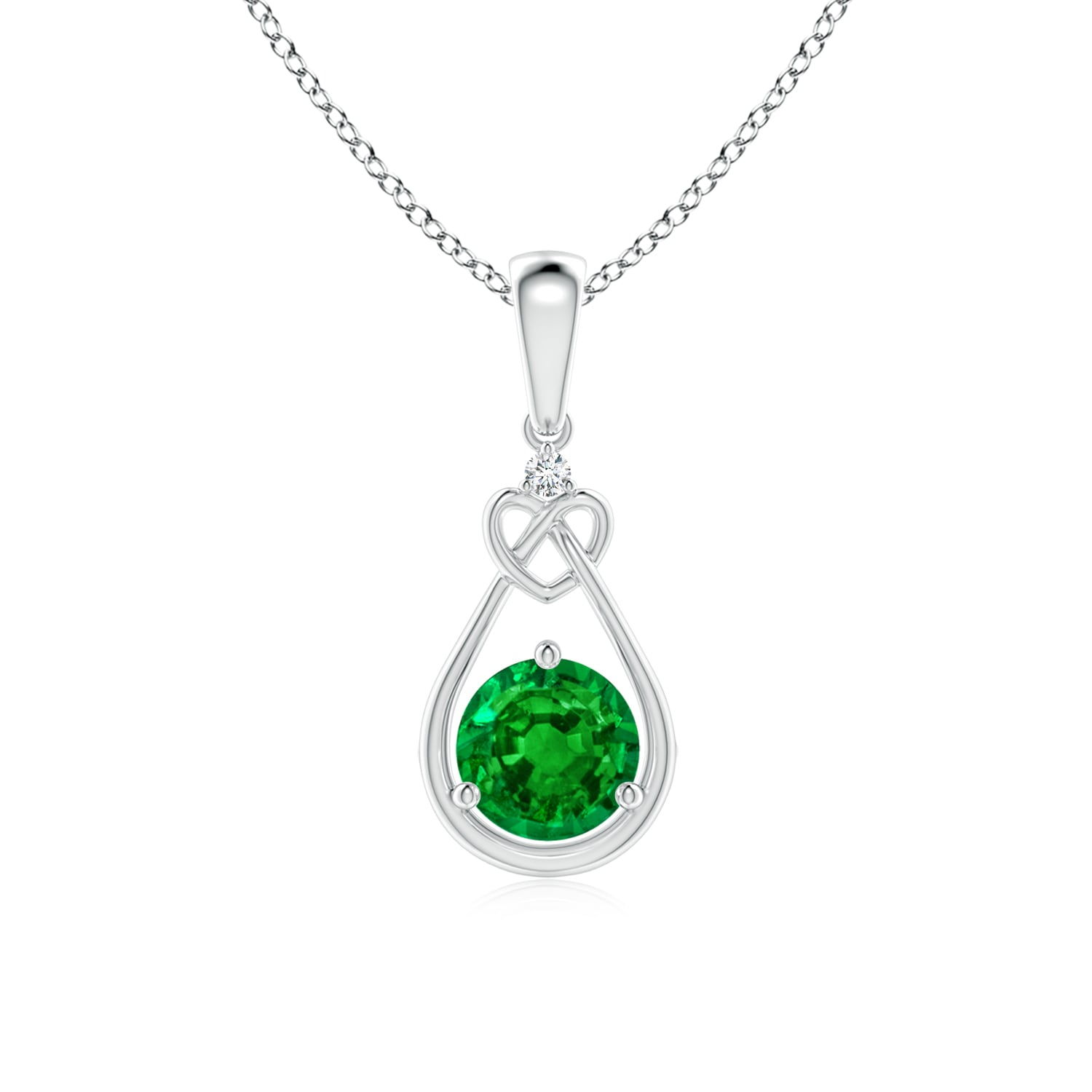 Emerald Knotted Heart Pendant With Diamond In Most Recent Knotted Heart Pendant Necklaces (View 6 of 25)