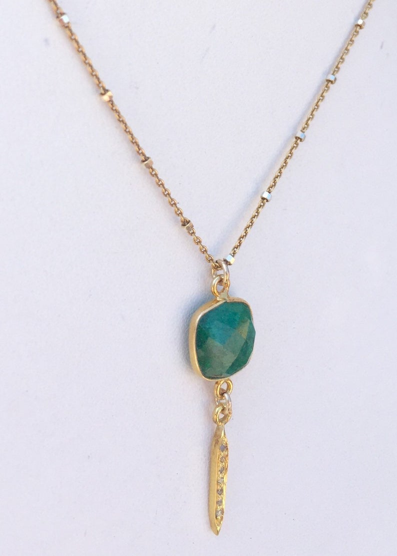 Emerald Necklace, Gold Pave Diamond Spike & Emerald Necklace, May  Birthstone, Layering Necklace , Reiki Charged, High Vibration In Most Recent Pavé Angel Wing Locket Element Necklaces (Gallery 17 of 25)