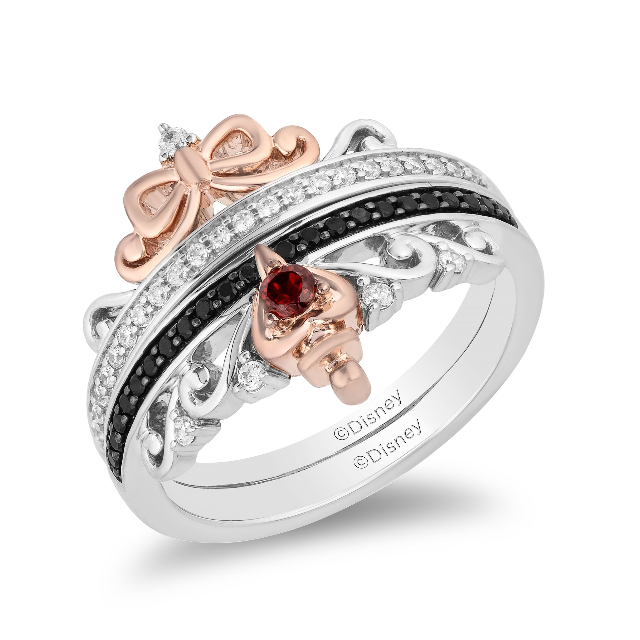 """Enchanted Disney Garnet, Treated Black And 1/4 Ct. Tw. White Diamond Snow  White & Evil Queen Ring Set In Sterling Silver And 10K Pink Gold Throughout Most Up To Date Diamond Seven Stone """"s"""" Anniversary Bands In Sterling Silver (Gallery 18 of 25)"""