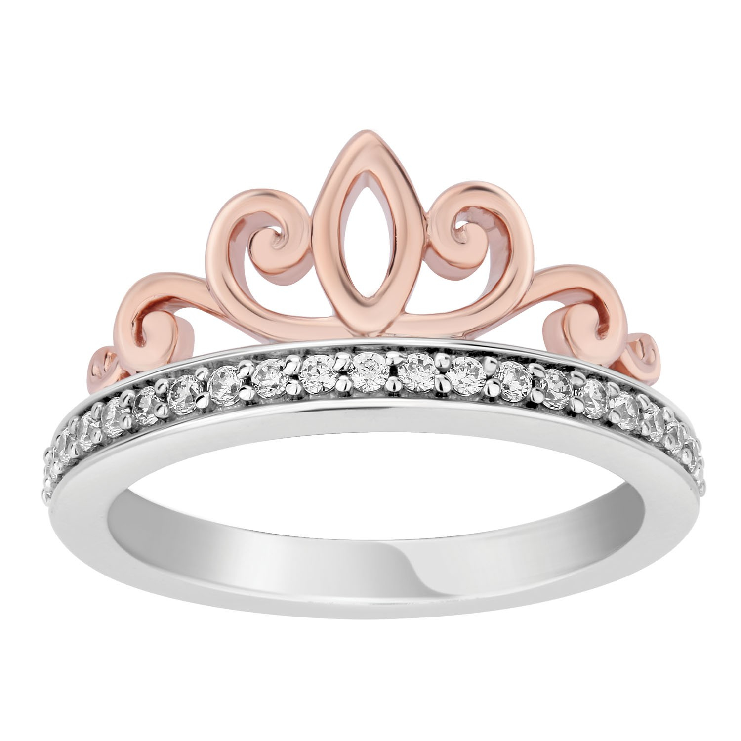 Enchanted Disney's Multi Princess Sterling Silver And 10K For Best And Newest Diamond Station Anniversary Bands In Rose Gold (Gallery 14 of 25)
