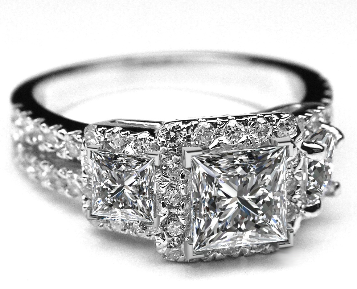Engagement Ring  Three Stone Princess Diamond Halo Split Intended For Most Current Princess Cut Diamond Three Stone Anniversary Bands In White Gold (Gallery 22 of 25)