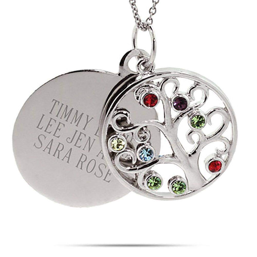 Engravable 8 Stone Circle Birthstone Family Tree Pendant | Family Intended For Current Sparkling Family Tree Necklaces (View 4 of 25)