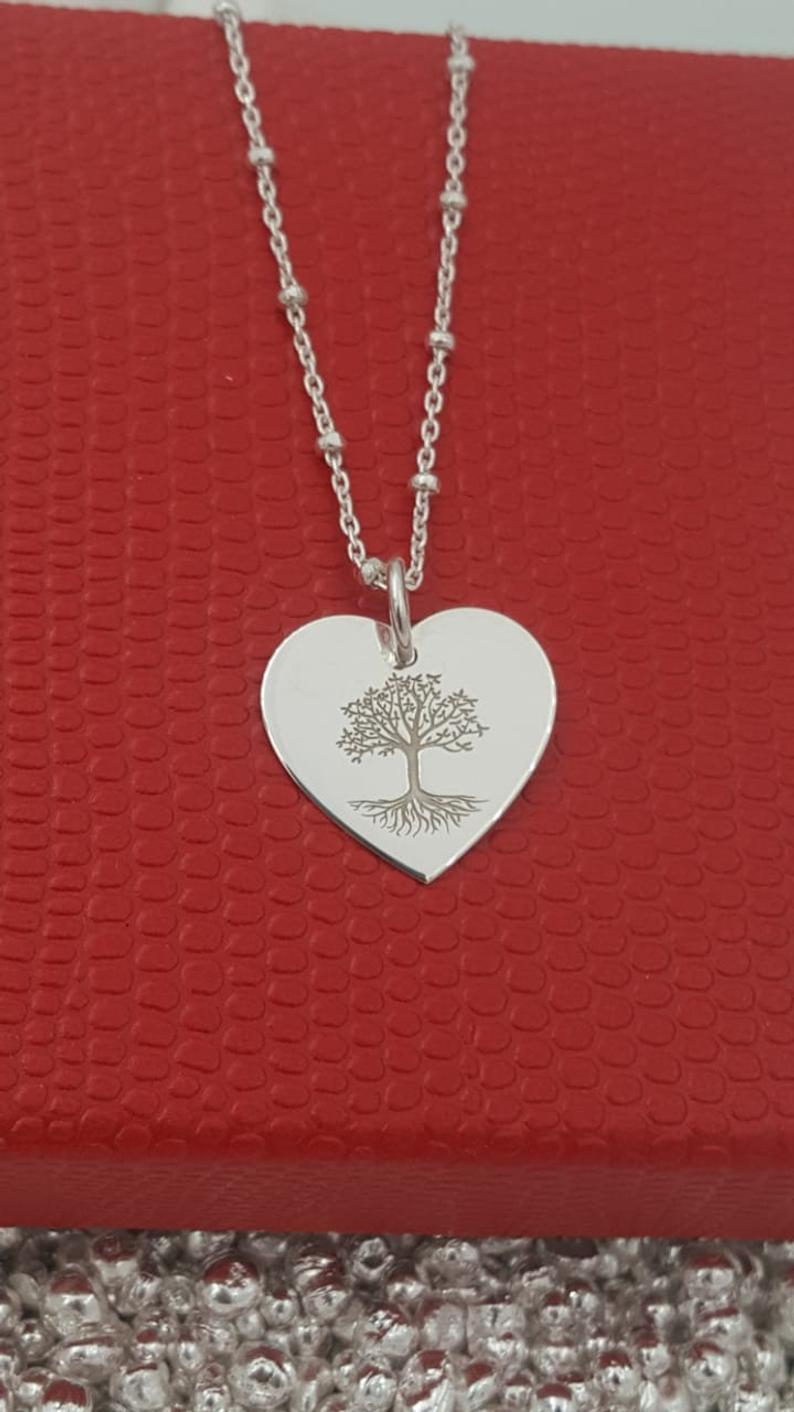 Engraved Heart Necklace, Tree Of Life Necklace, Family Tree Necklace, Personalize Heart Pendant Necklace, Sterling Silver Necklace For Women With Most Popular Family Tree Heart Pendant Necklaces (View 10 of 25)