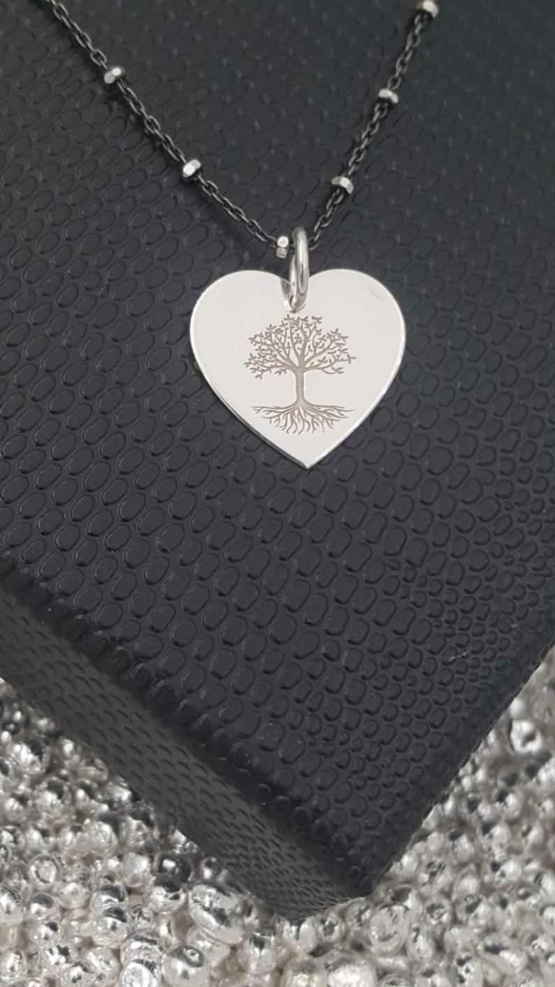 Engraved Heart Necklace, Tree Of Life Pendant Necklace, Family Tree  Necklace, Personalize Heart Necklace, Sterling Silver Necklace For Women Regarding Newest Family Tree Heart Pendant Necklaces (Gallery 9 of 25)