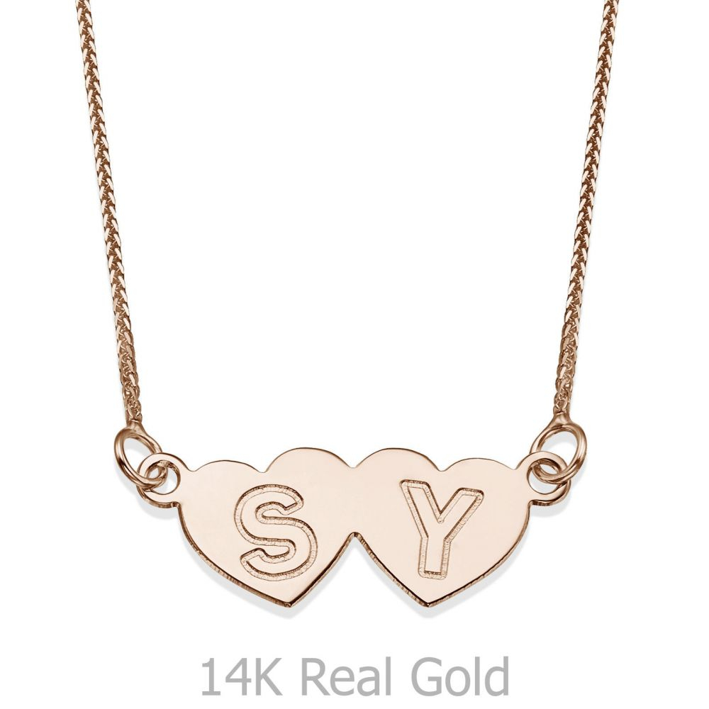 Engraved Pendant Necklace In Rose Gold – Loving Hearts Inside Most Recently Released Joined Hearts Necklaces (View 18 of 25)
