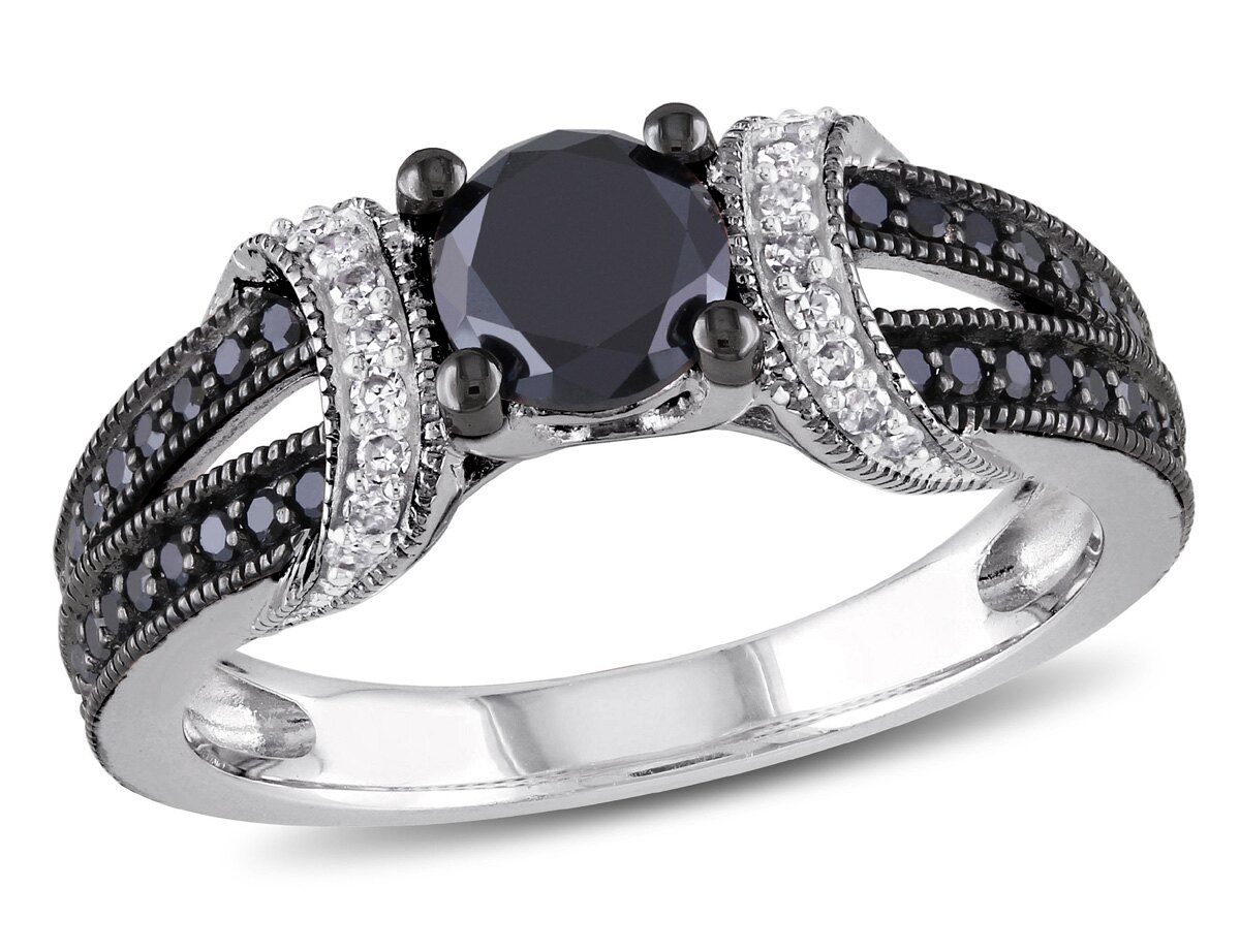 Enhanced Black And White Diamond Engagement Ring 1.00 Carat (Ctw) In  Sterling Silver With Black Rhodium Pertaining To Recent Enhanced Black And White Diamond Anniversary Bands In Sterling Silver (Gallery 5 of 25)