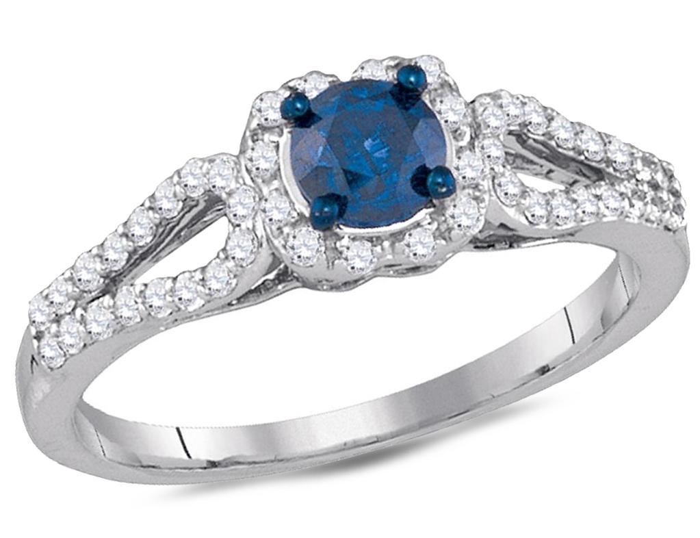 Enhanced Blue Diamond Engagement Ring 3/4 Carat (Ctw Clarity I2 I3) In 10K  White Gold Pertaining To Recent Enhanced Blue And White Diamond Anniversary Bands In White Gold (Gallery 20 of 25)