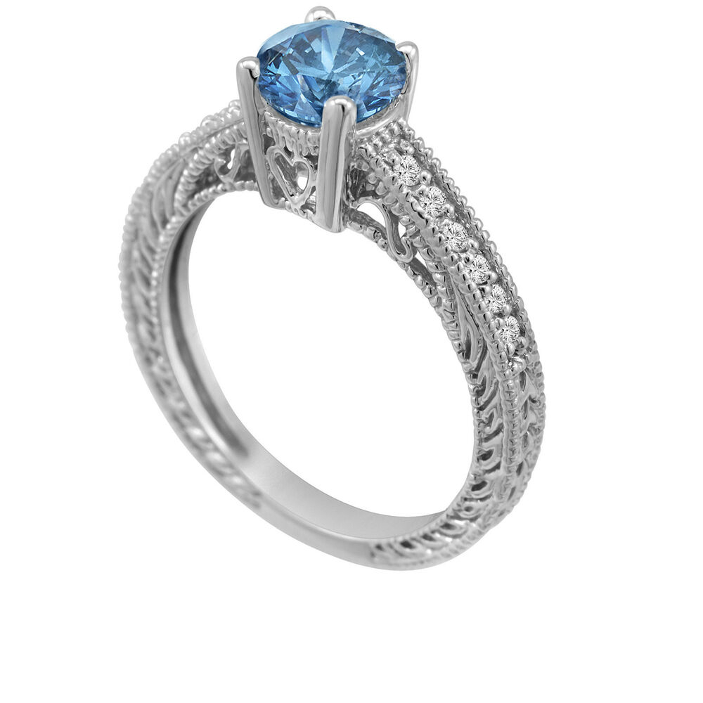 Enhanced Fancy Blue Diamond Engagement Ring 14K White Gold Intended For Most Recent Enhanced Blue Diamond Vintage Style Anniversary Bands In White Gold (Gallery 2 of 25)