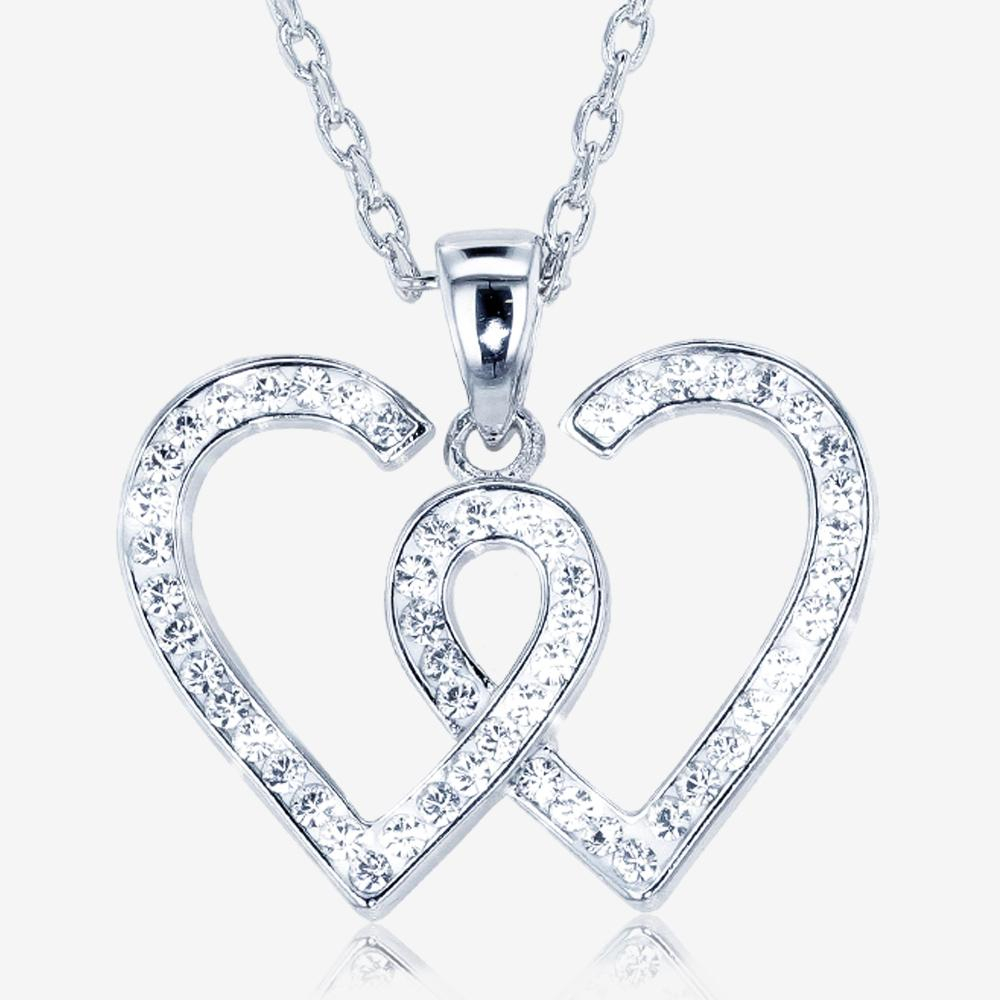 Entwined Heart Necklace Made With Swarovski Crystals With Most Popular Interlocked Hearts Locket Element Necklaces (View 7 of 25)