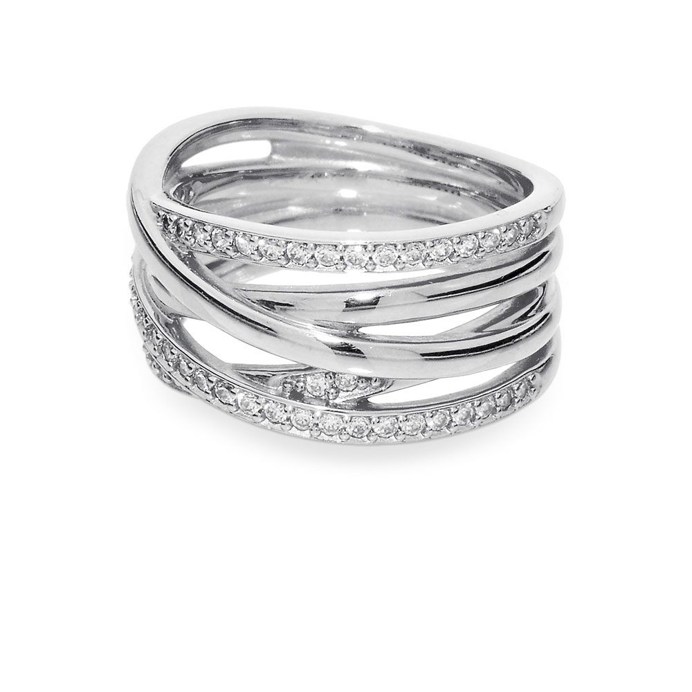 Entwined Ring, Clear Cz | Accessories In 2019 | Rings, Silver Rings Regarding Most Current Sparkling & Polished Lines Rings (View 7 of 25)