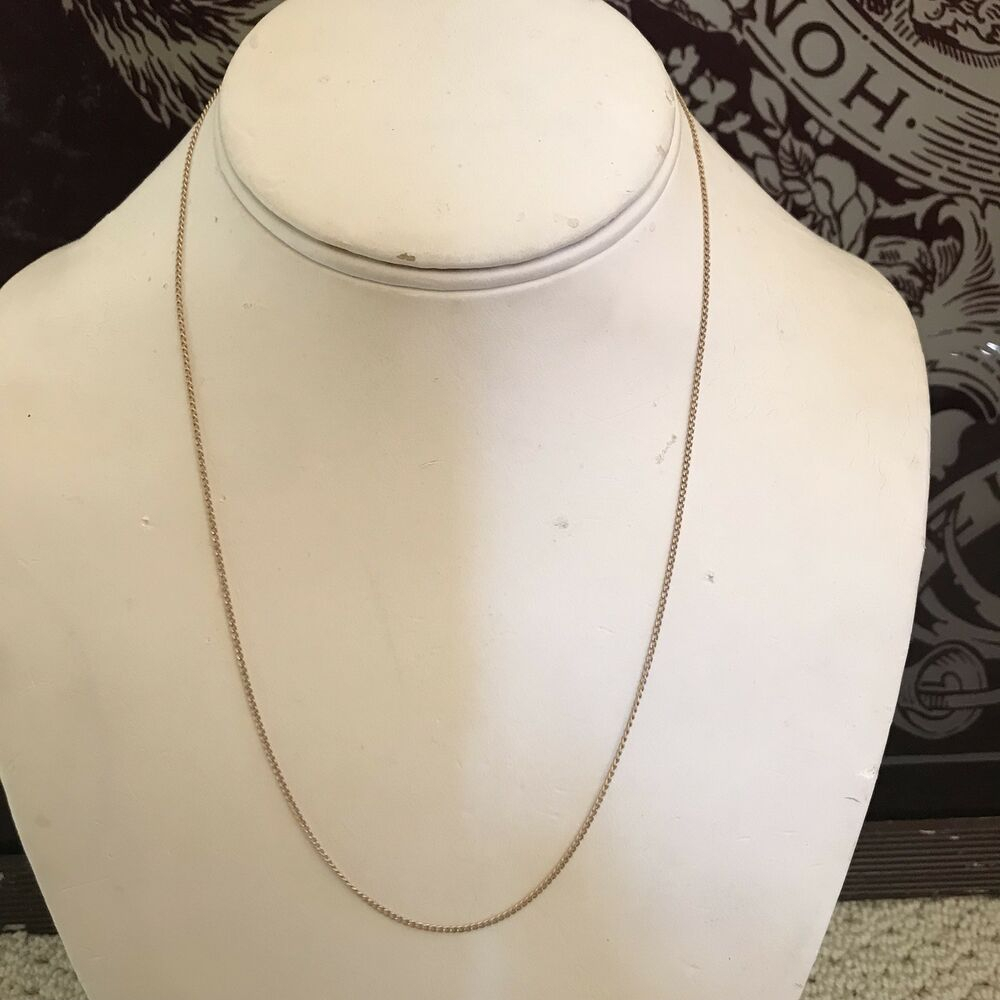 "Estate Solid 14K Yellow Gold 18"" Long Oval Link Cable Chain Necklace 1.4G  Fine 