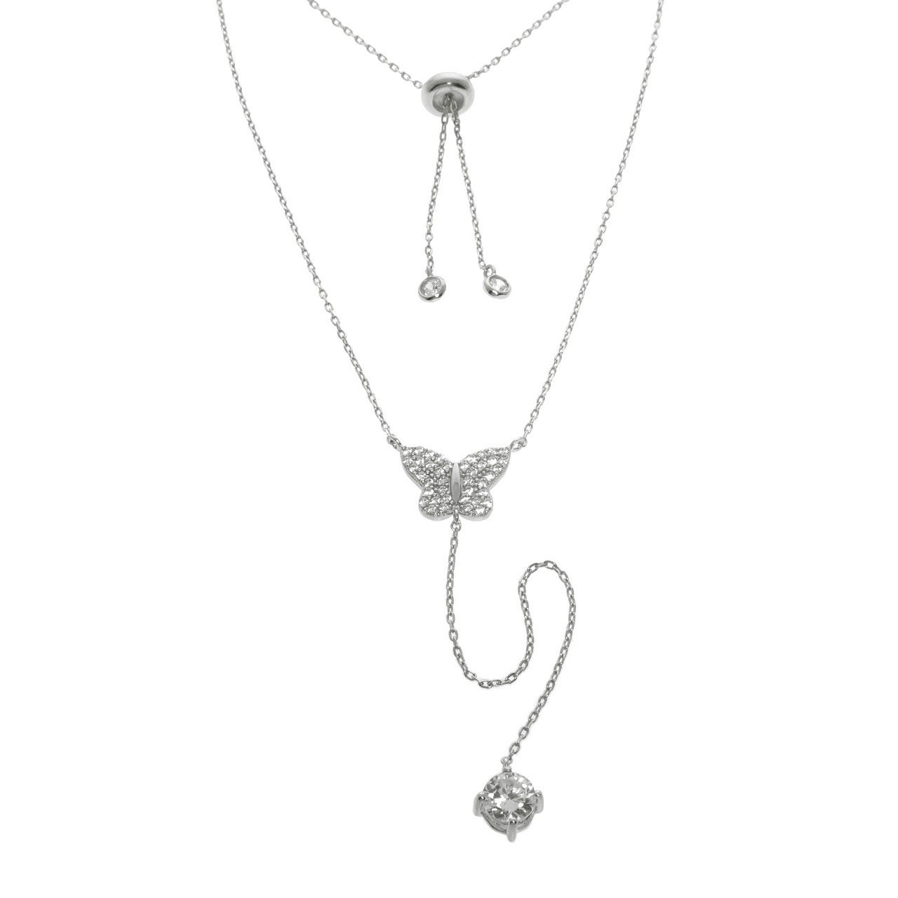 Eternally Haute Solid Sterling Silver Pave Butterfly Y Necklace Pertaining To Most Up To Date Sparkling Butterfly Y  Necklaces (View 13 of 25)