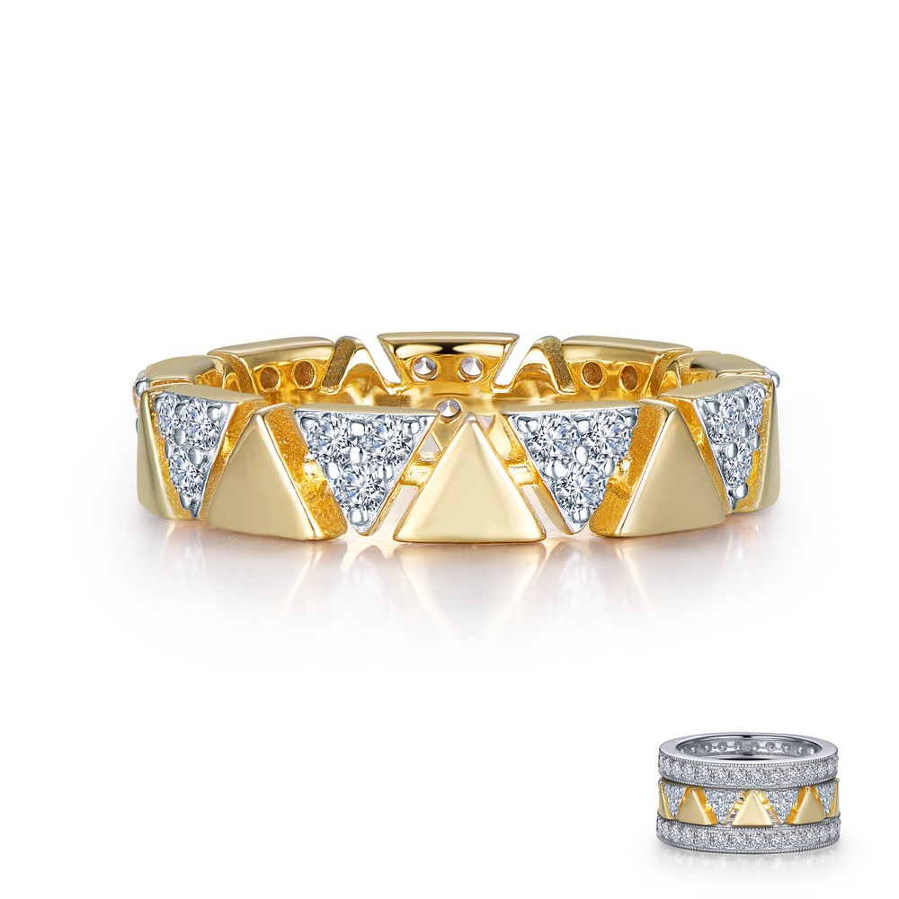 Eternity Band Features Alternating Simulated Diamond Lined Triangle Shaped  Frames And Plain Triangle Shaped Sections Set In Gold Plated And Sterling Inside Most Recently Released Diamond Frame Anniversary Bands In Gold (View 16 of 25)