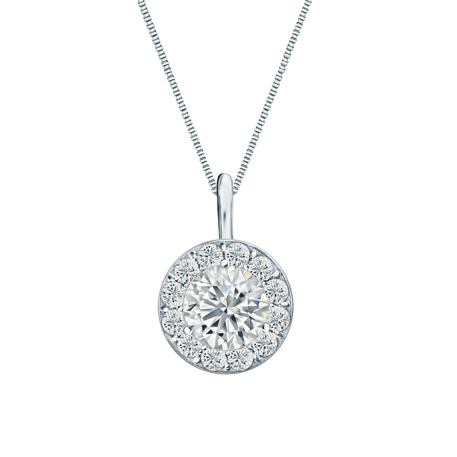 Ethical Sparkle 1/4Ctw Round Lab Created Halo Diamond Necklace 14K Gold Pertaining To 2019 Round Sparkle Halo Pendant Necklaces (View 2 of 25)