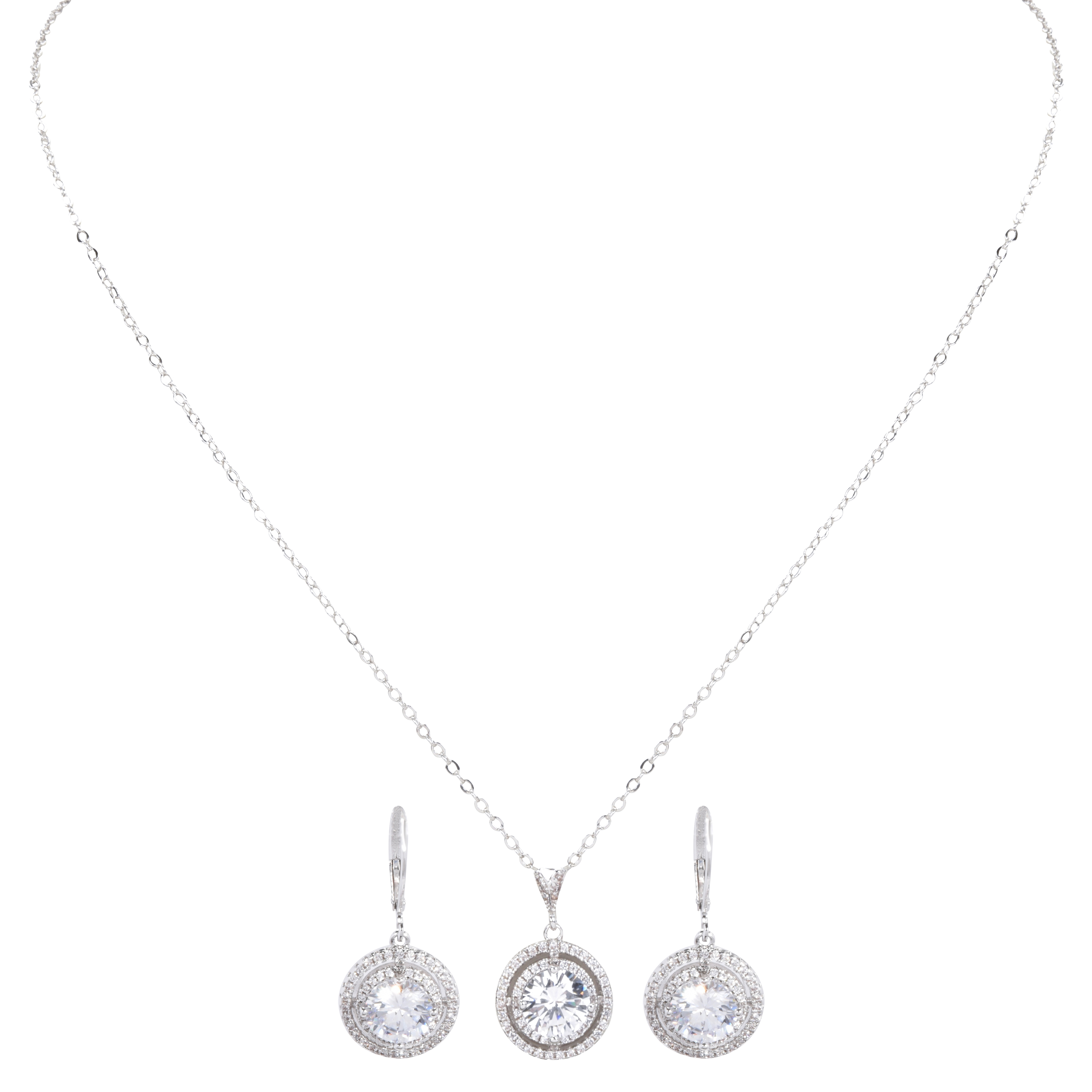 Ezi Cz Cubic Zirconia Solitaire Brilliant Round Halo Pendant Necklace & Hoop Drop Earrings Women'S Costume Jewelry Set Throughout Best And Newest Round Sparkle Halo Pendant Necklaces (View 13 of 25)