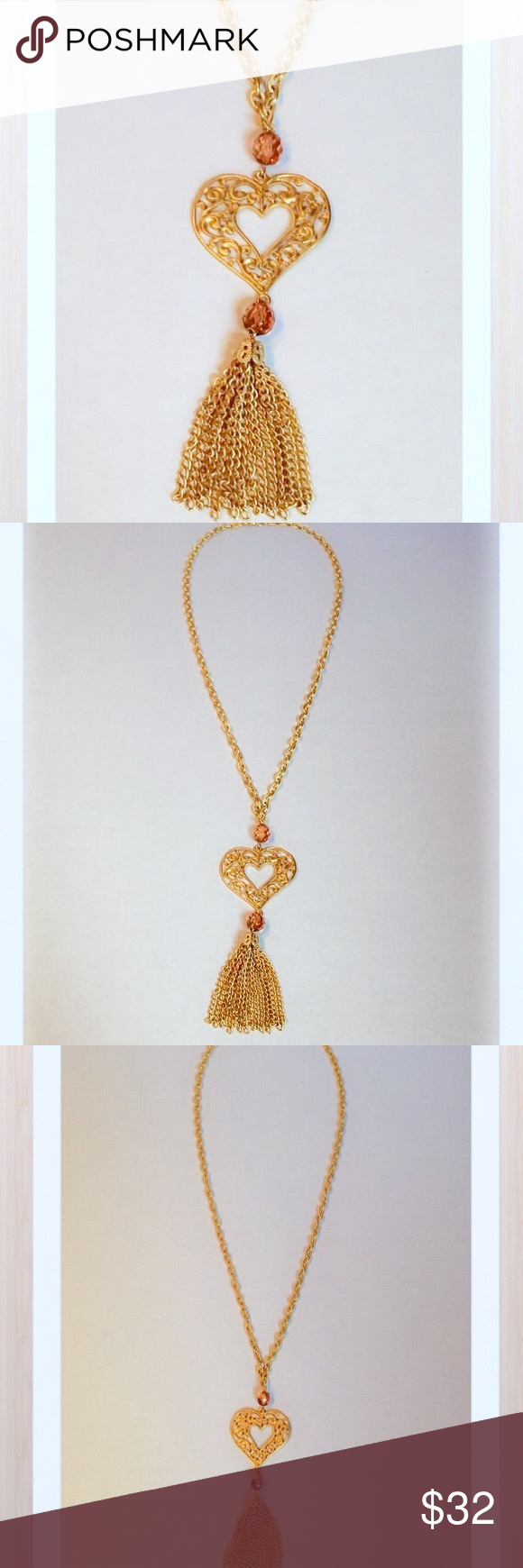 🆕 Long Gold Crystal Heart & Tassel Necklace, Bnwt Boutique | My With Regard To Latest Ornate Hearts Tassel Necklaces (View 25 of 25)