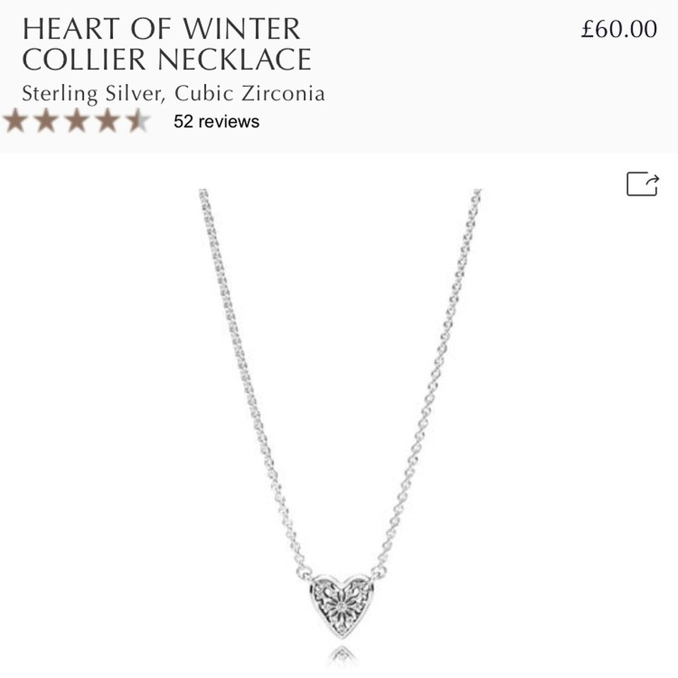 🎉reduced Price!🎉 Pandora Heart Of Winter Collier – Depop For Most Popular Ice Crystal Heart Collier Necklaces (View 3 of 25)