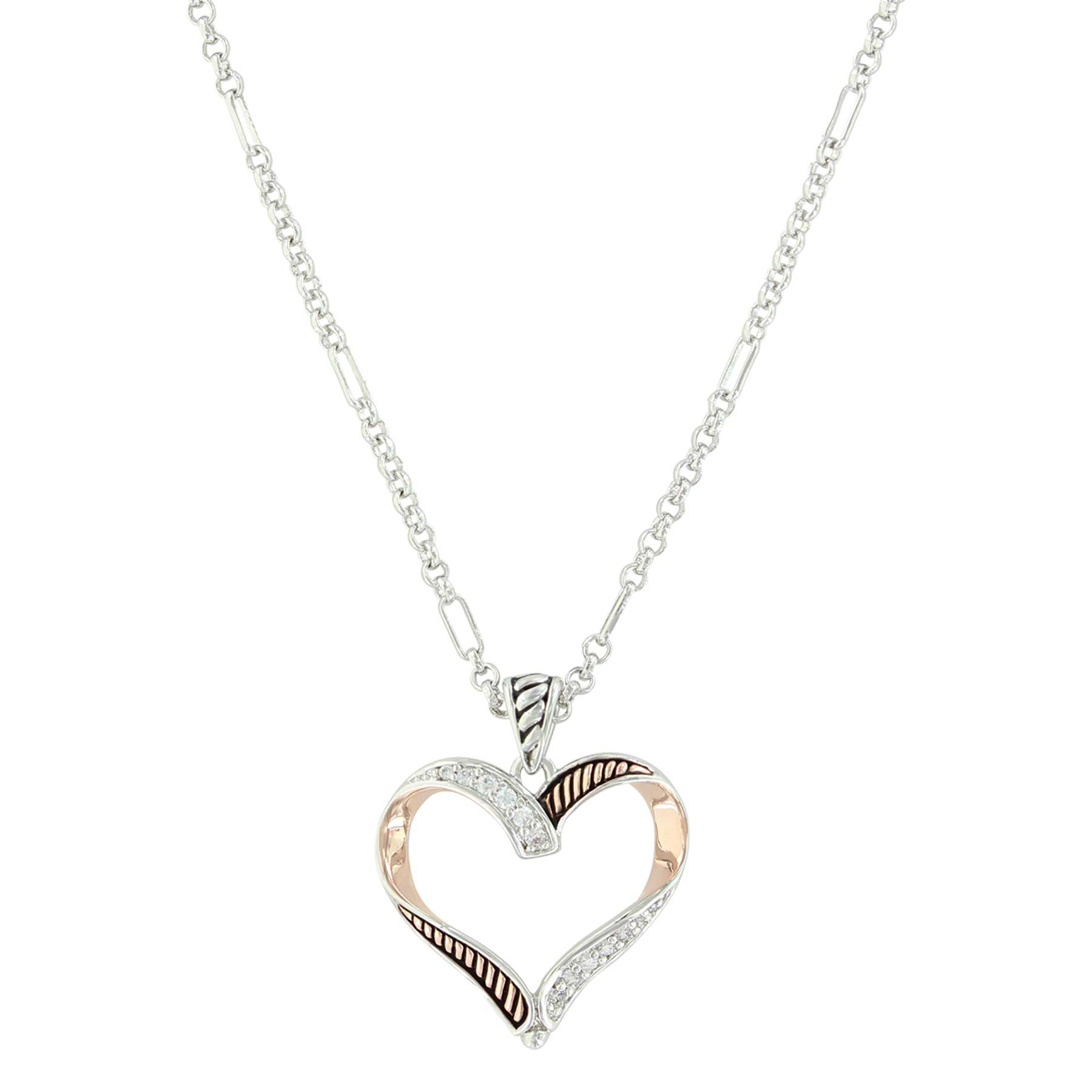 Facets Of Love Rose Gold Heart Necklace Intended For Most Recent Ribbon Open Heart Necklaces (Gallery 1 of 25)