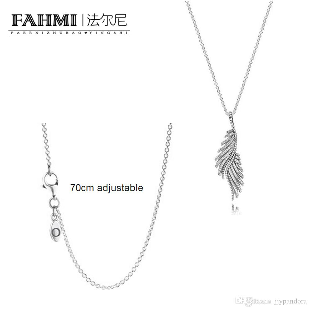 Fahmi 100% 925 Sterling Silver Charm Silver Chain Necklace Necklace  Shimmering Phoenix Feather Silver Necklace Pendant Ladies Jewelry Inside Current Shimmering Feather Pendant Necklaces (View 6 of 25)
