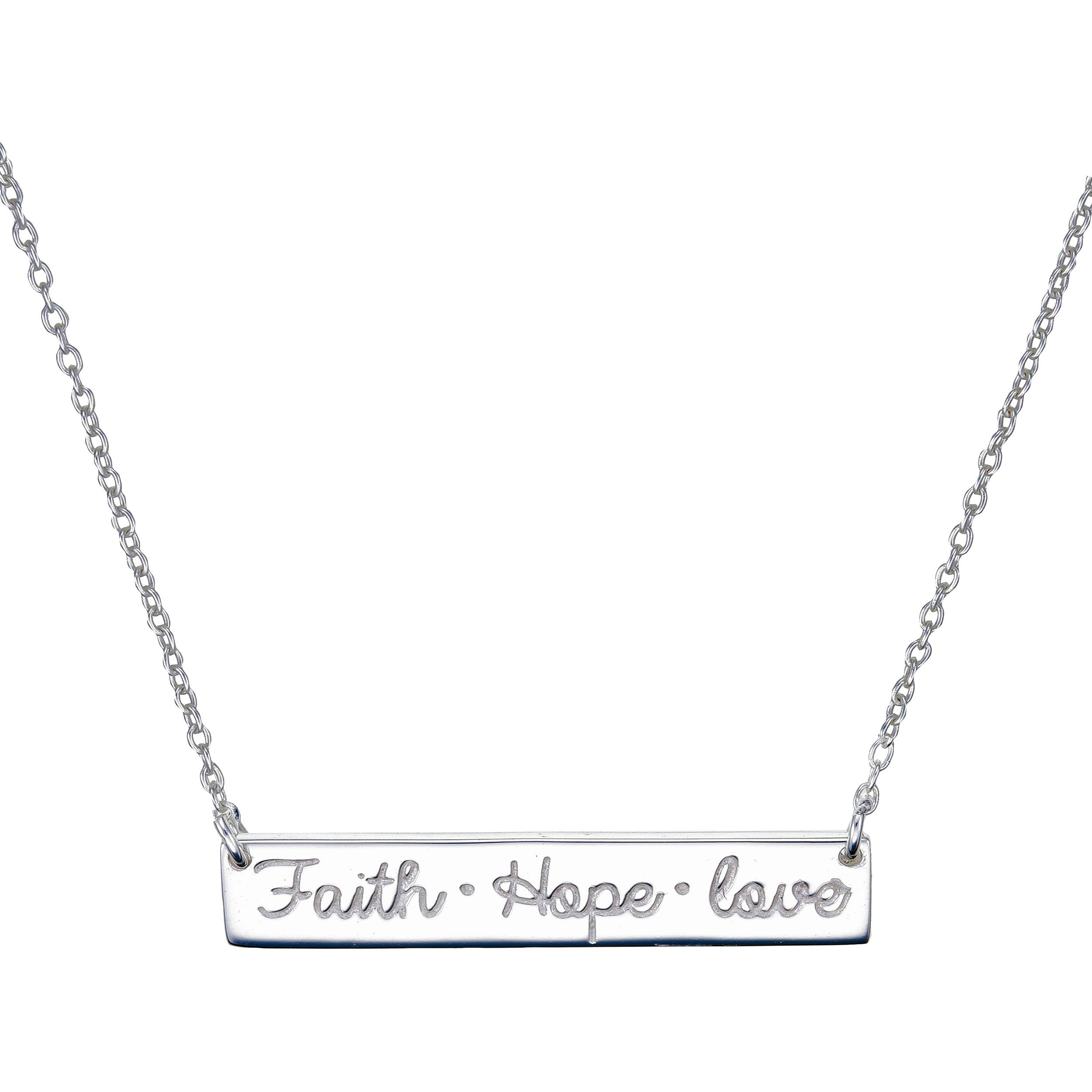 'faith, Hope & Love' Bar Necklace In Sterling Silver – 465831 Ss Pertaining To Newest Gate Of Love Necklaces (View 14 of 25)