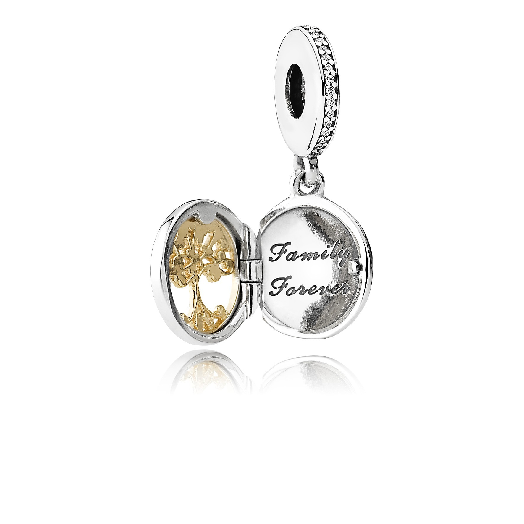 Family Tree Locket Silver Dangle With 14K For Most Recently Released Dangling Family Tree Rings (View 9 of 25)