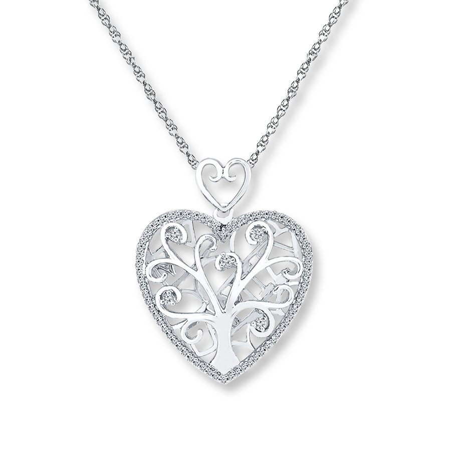 Family Tree Necklace 1/4 Ct Tw Diamonds Sterling Silver In Most Up To Date Family Tree Heart Pendant Necklaces (View 5 of 25)