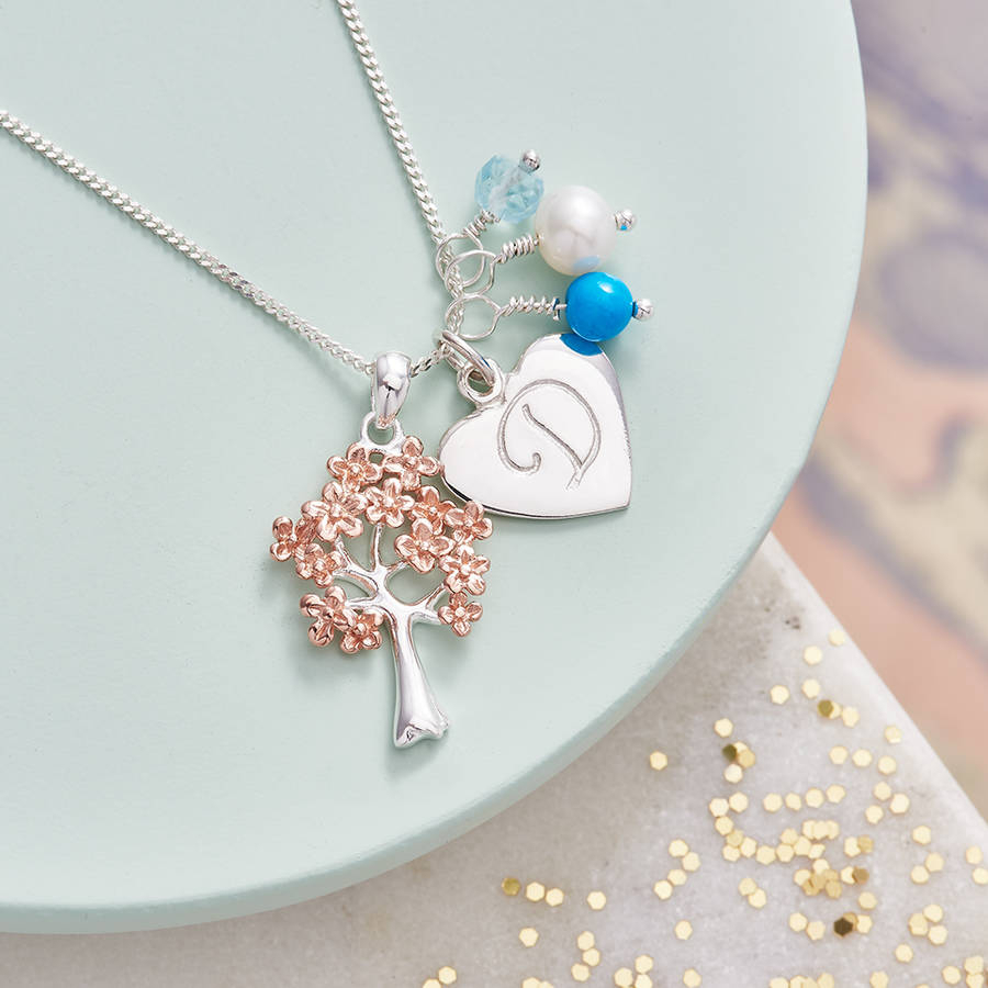 Family Tree Necklace In Rose Gold With Birthstones Regarding Most Current Sparkling Family Tree Necklaces (View 7 of 25)
