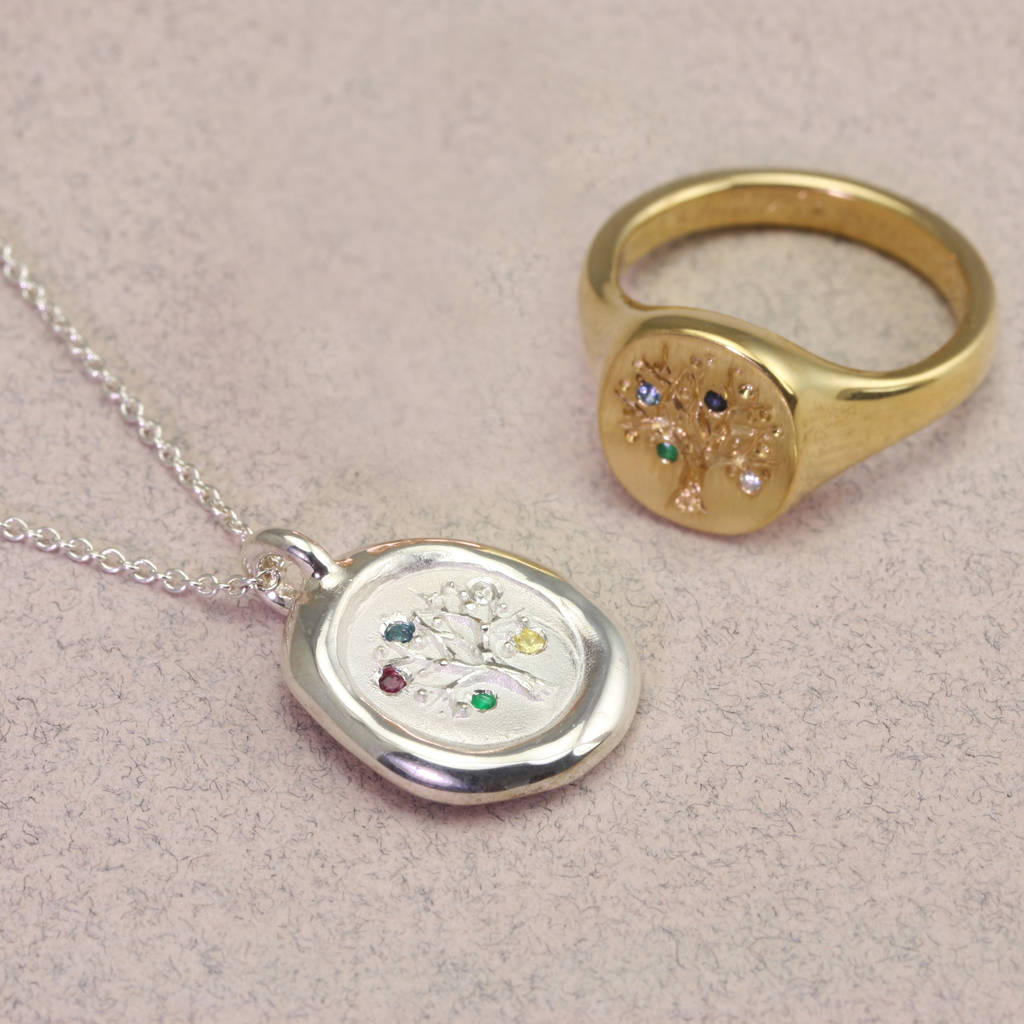 Family Tree Signet Ring With Birthstones Within Most Recent Family Script Locket Element Necklaces (Gallery 23 of 25)