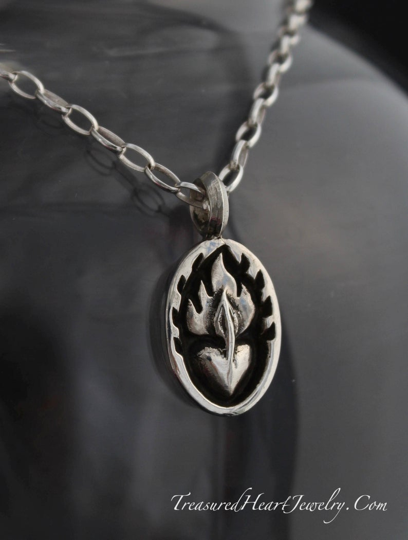 Fan The Flames Sterling Silver Sacred Heart Necklace For Men (and Women): An Attractively Striking Masculine Piece For Men Pertaining To Current Heart Fan Pendant Necklaces (View 13 of 25)