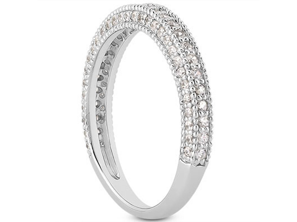 Fancy Pave Diamond Milgrain Wedding Ring Band In 14K White Pertaining To Recent Diamond And Milgrain Anniversary Bands In White Gold (Gallery 17 of 25)