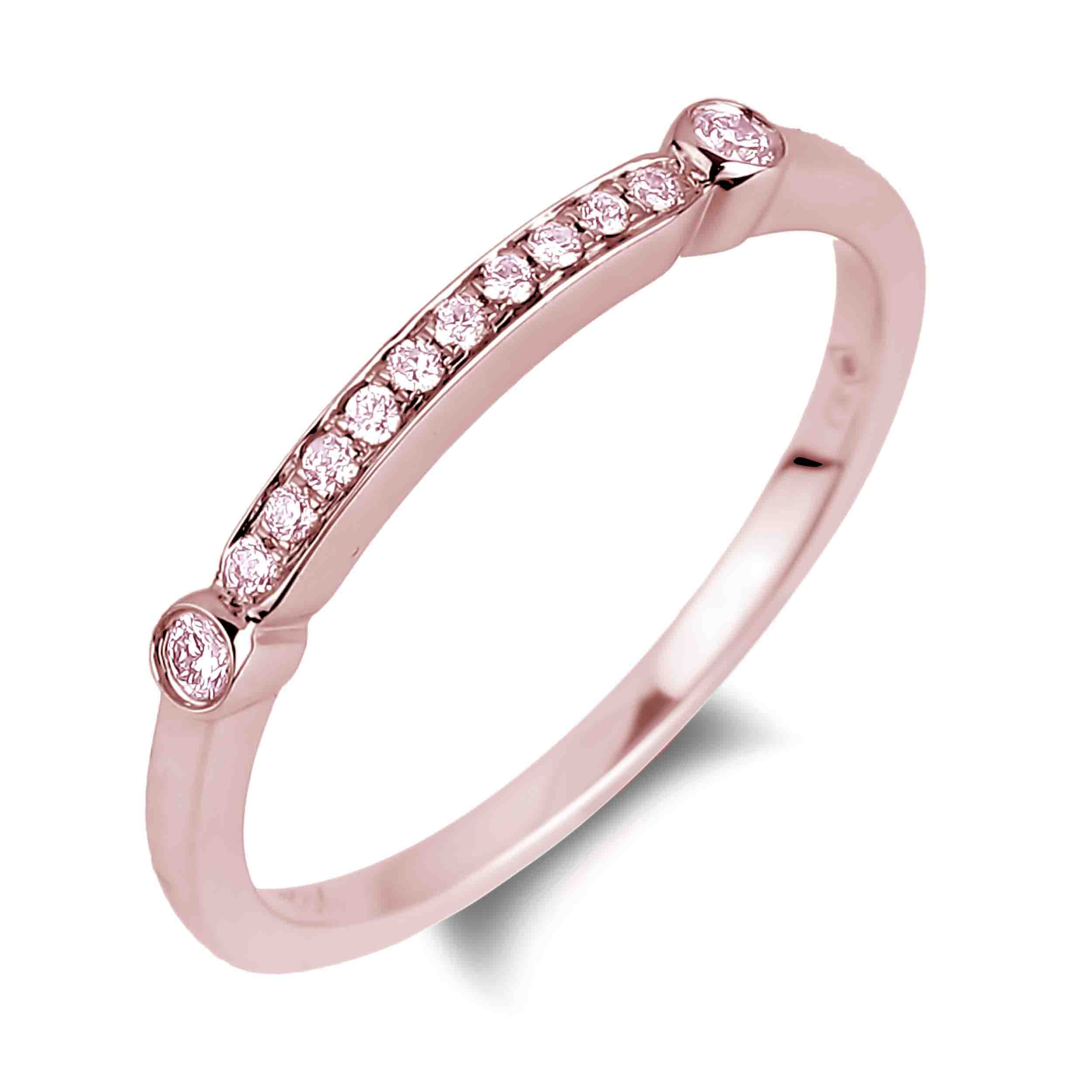 Fancy Pink Diamond Ladies Matching Wedding Band In Most Up To Date Certified Diamond Anniversary Bands In Rose Gold (View 13 of 25)