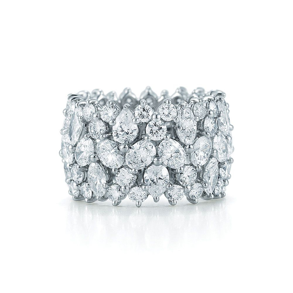 Fancy Shape Diamond Cluster Ring In Platinum (View 14 of 25)