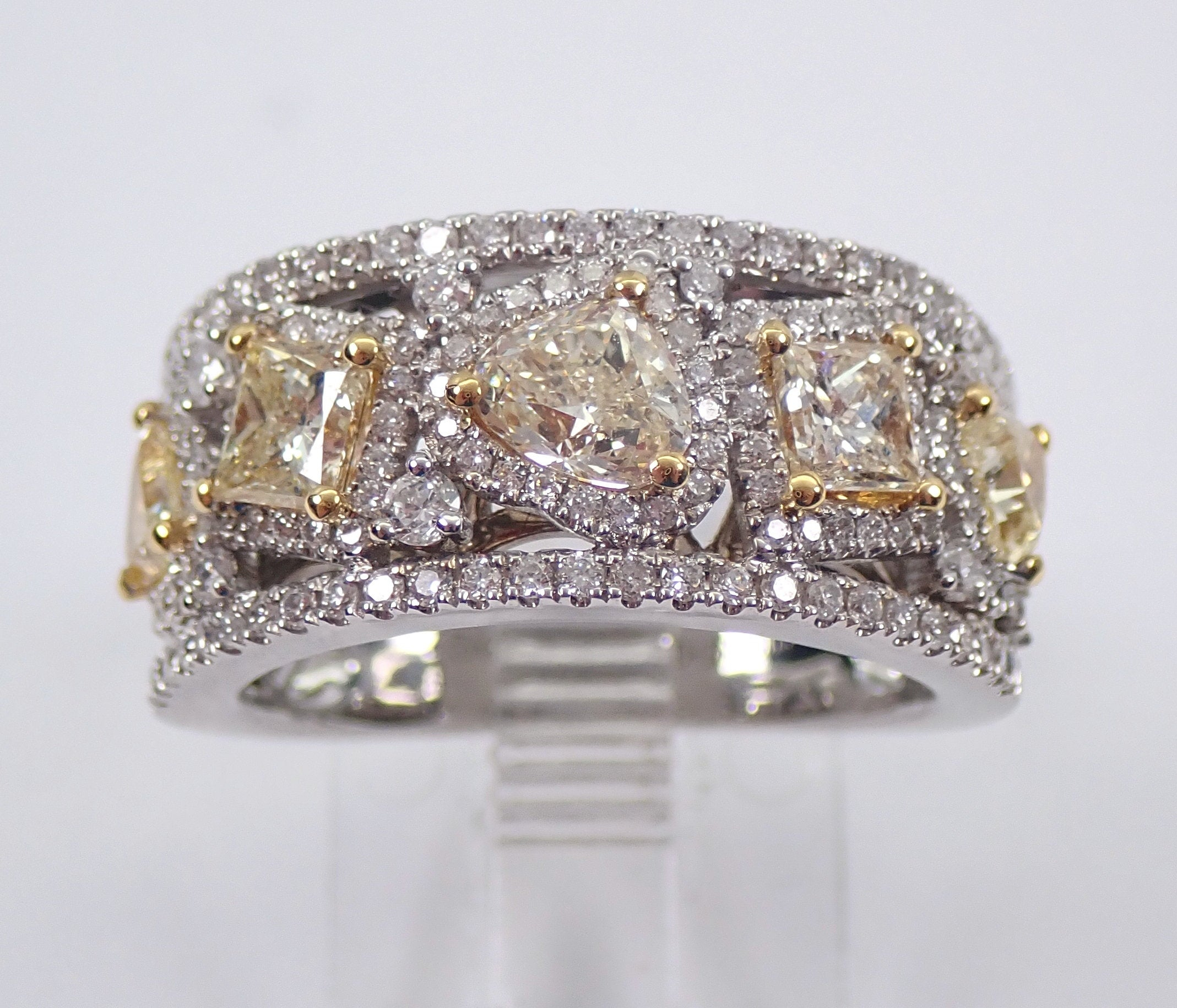 Fancy Yellow Canary Diamond Wedding Ring Wide Anniversary Band 18K White  Gold Size  (View 13 of 25)