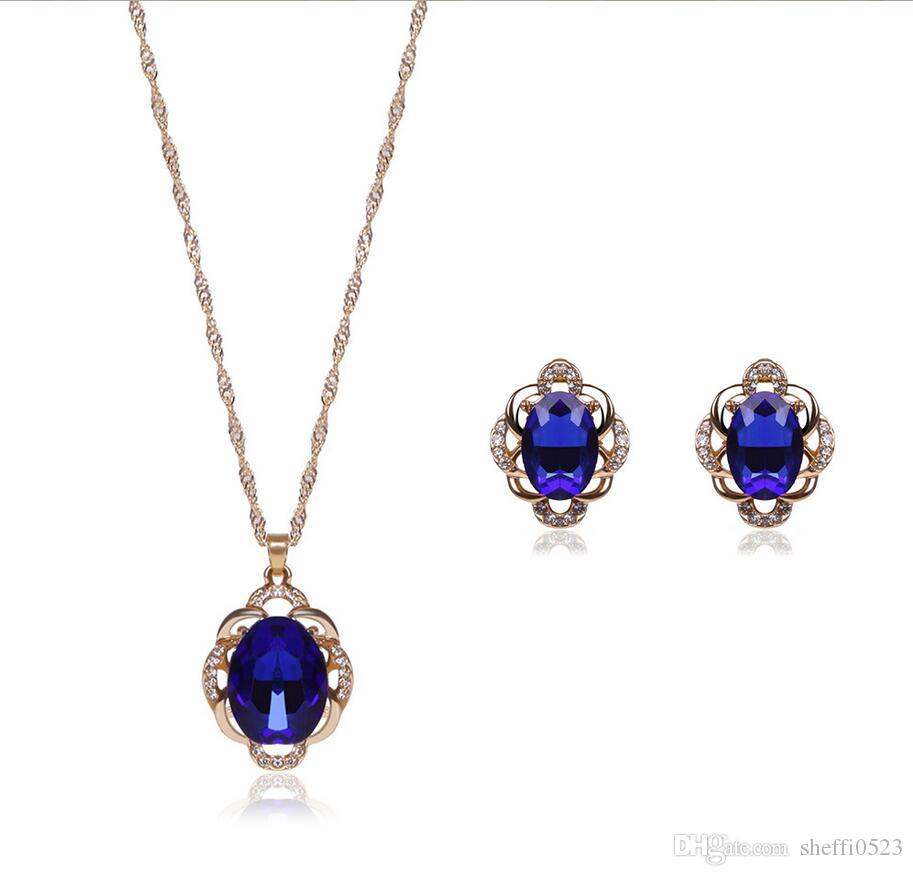 Fashion 18Kgp Crystal Jewelry Sets 2 Colors High Grade Necklace Set For Wedding Jewelry 20Sets Min Order 61152235 For Recent Purple Ladybird Locket Element Necklaces (View 22 of 25)