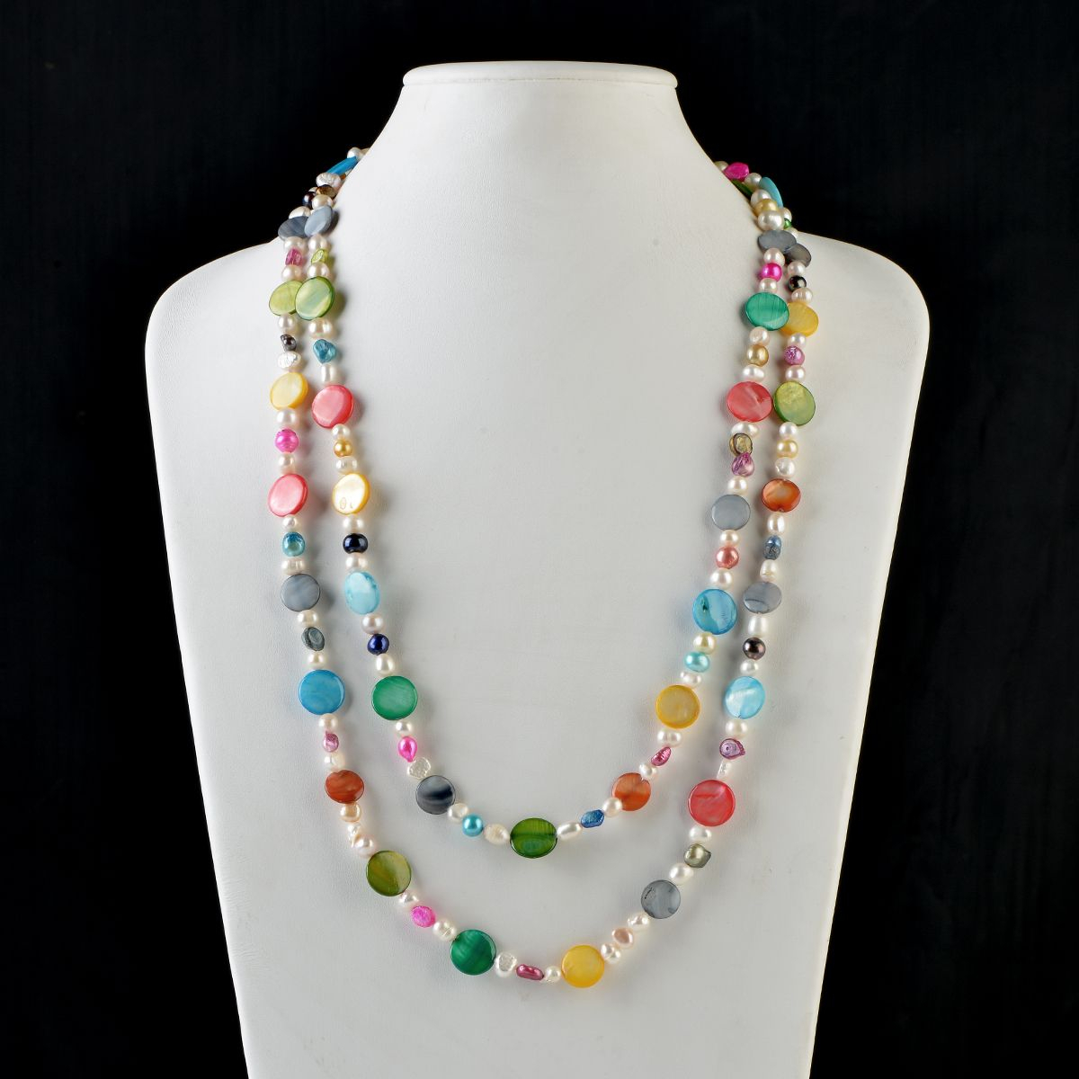 Fashion 60 Inch Long Multi Color Shell Beads Freshwater Cultured Pearls Necklace Pertaining To Most Recent Freshwater Cultured Pearls & Beads Necklaces (View 9 of 25)
