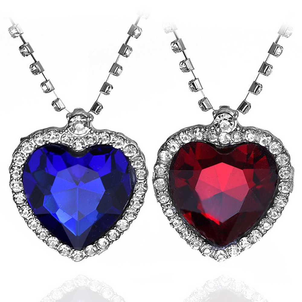 Fashion Heart Of Ocean Necklaces Bule And Red Crystal Charm Pendants For  Men Women Party Formal Dress Jewelry Accessories Throughout Most Up To Date Ice Crystal Heart Collier Necklaces (View 8 of 25)