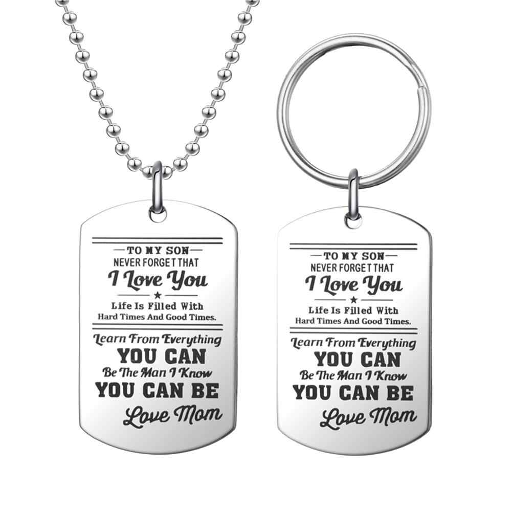 Fashion Men Dog Tag Caving Letters Pendant Chain Necklace Key Jewelry Gift For Men Pertaining To Most Up To Date Letter V Alphabet Locket Element Necklaces (View 3 of 25)