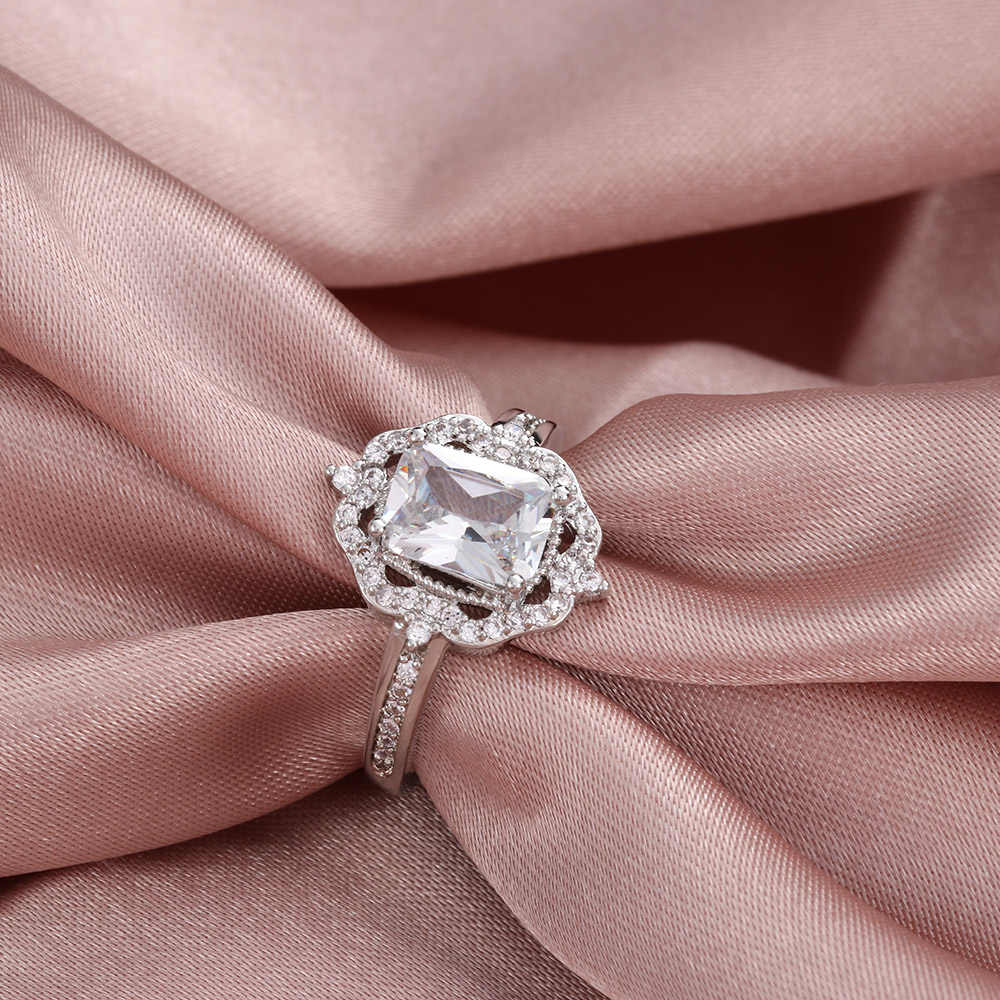 Fashion Women Halo Vintage Engagement Square Ring Sparkly Rose Gold Zircon Ring Wedding Party Charm Jewelry Gift Regarding Most Popular Square Sparkle Halo Rings (View 14 of 25)