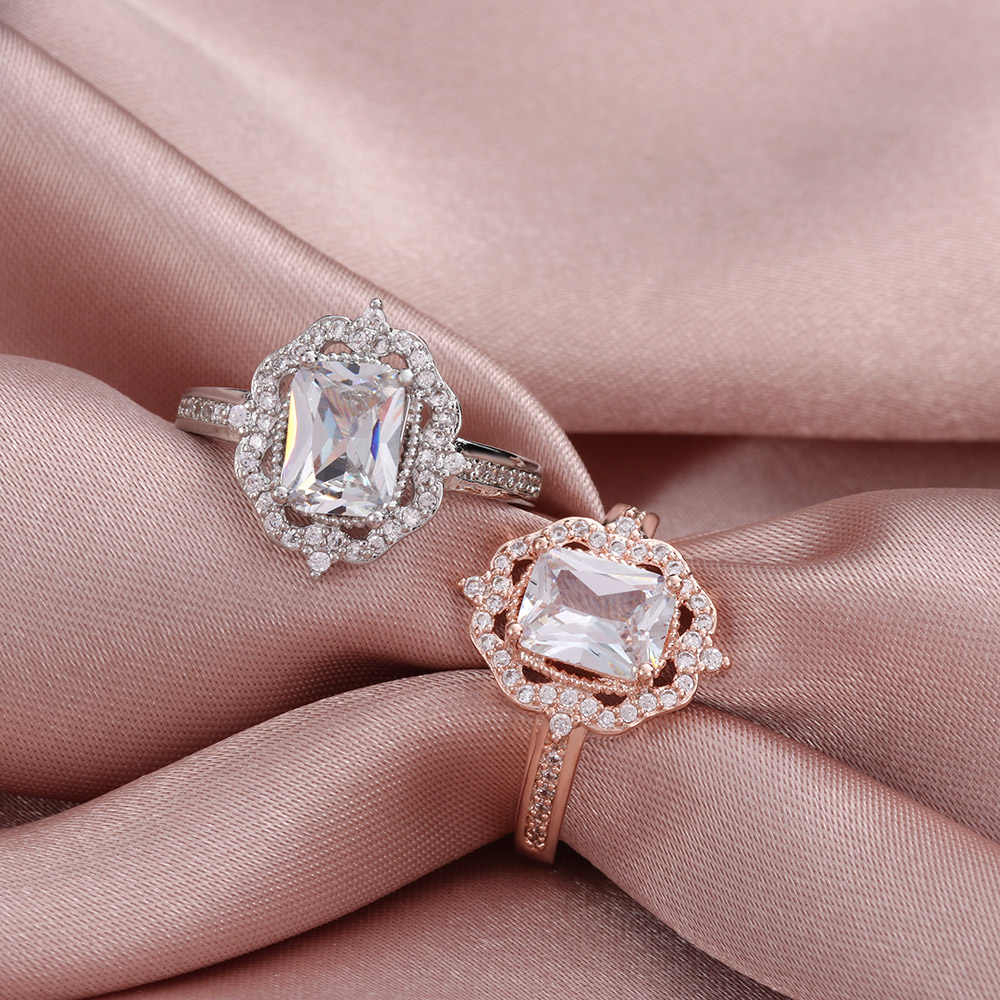 Fashion Women Halo Vintage Engagement Square Ring Sparkly Rose Gold Zircon  Ring Wedding Party Charm Jewelry Gift With Best And Newest Square Sparkle Halo Rings (Gallery 14 of 25)