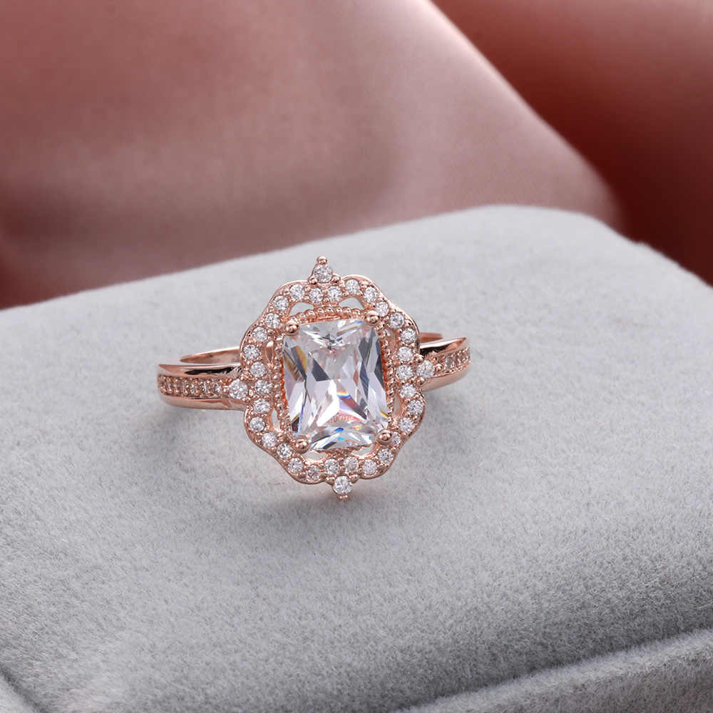 Fashion Women Halo Vintage Engagement Square Ring Sparkly Rose Gold Zircon Ring Wedding Party Charm Jewelry Gift Within Newest Square Sparkle Halo Rings (Gallery 17 of 25)