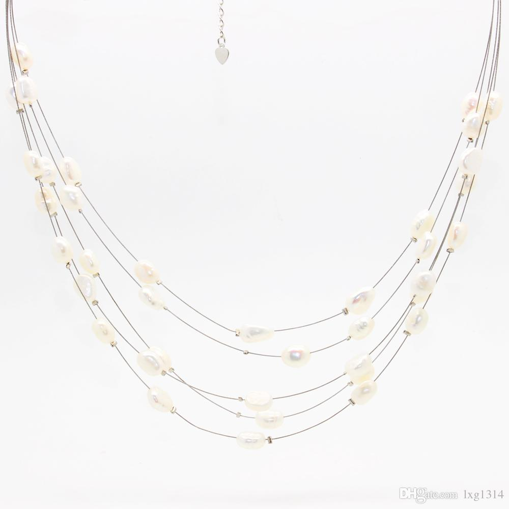 Fashionable Natural Freshwater Pearl Jewelry Multilayer Copper Wire Beaded Necklace With Natural Color Pearl Necklace Feminine Charm Jewelry Regarding Most Recently Released Freshwater Cultured Pearls & Beads Necklaces (View 23 of 25)